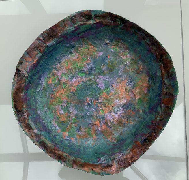 Large papier mache bowl aeriald view