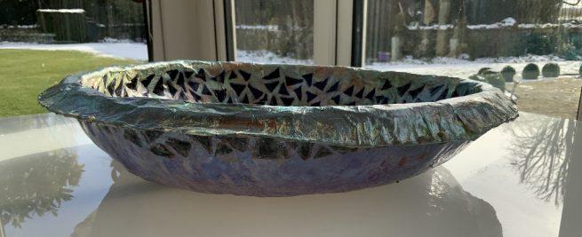 Large papier mache bowl side view